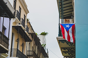 Buildings with Puerto Rico flag hanging