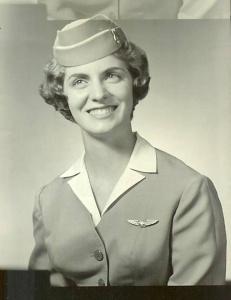Nan McKay in her flight attendant uniform, 1962