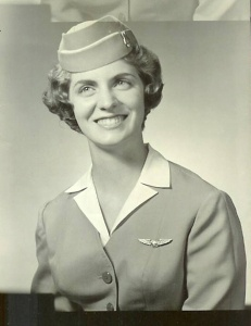Nan McKay in her flight attendant uniform, 1962